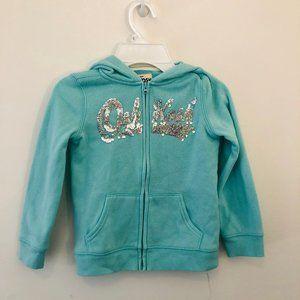 4T Blue Zip Up Sweatshirt Oshkosh with Sequins